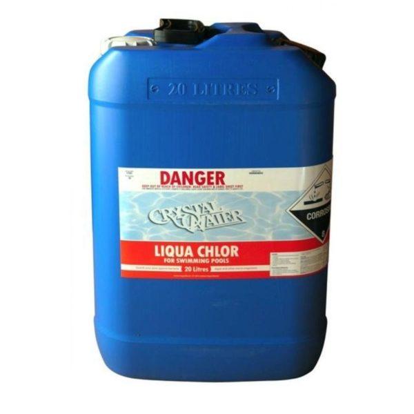 Blue container of liquid Chlorine